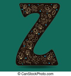 The Letter Z with Golden Floral Decor.
