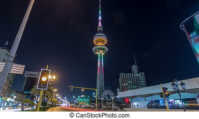 The Liberation Tower timelapse hyperlapse in Kuwait City...