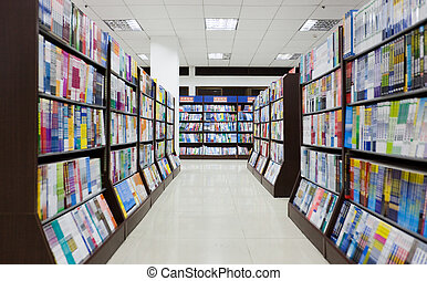 Shelves full of books in a library.