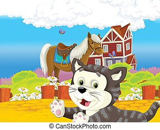 The life on the farm with cat and horse - illustration for the children