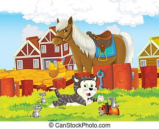 The life on the farm with cat horse and mice - illustration for the children