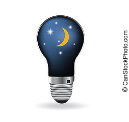 The light bulb with moon and night sky. Vector Illustration.