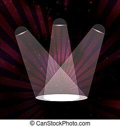 The light in a dark room. Three light sources illuminate the floor.