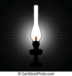 The light of a kerosene lamp - Burning old kerosene lamp....