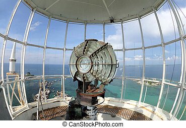 the light of lighthouse beacon - Large fresnel lens of...