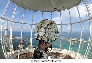 the light of lighthouse beacon - Large fresnel lens of...