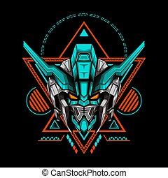 The Light Tosca Antlers Robot illustration for merchandise, apparel or other with geometry ornament