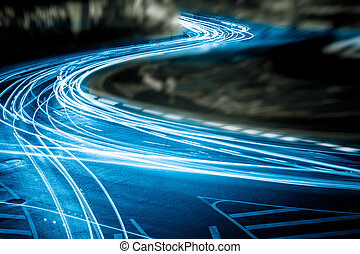 light trails - the light trails on the steet in shanghai ...