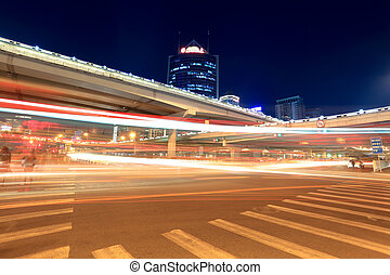 light trails on the viaduct in beijing