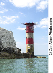 The lighthouse at the end of The Needles on the Isle of Wight