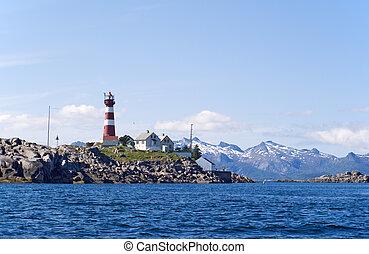 The lighthouse on the norwagian island Skrova.