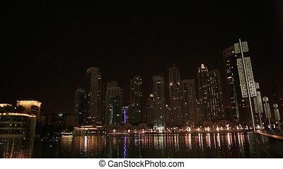 The lights in the water. Night Dubai. Uae.