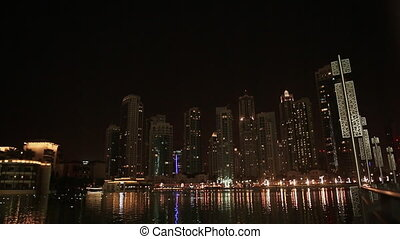 The lights in the water. Night Dubai. Uae.