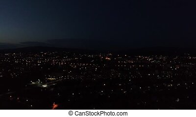 The lights of the night city. Video shot with a drone.