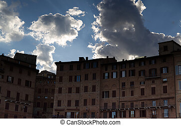 The lights of the sunset on Piazza del Campo