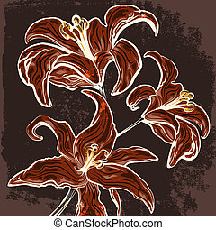Illustration of blossoming lillies branch against grunge dark background drawn in vintage graphic style