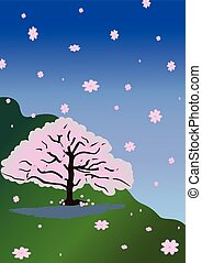The Line of cherry blossom tree background