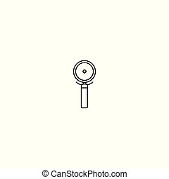 The linear vector icon of a pizza cutter .