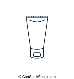 The linear vector icon of a tube of cream isolated on white...