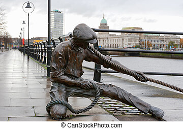 The Linesman statue. Dublin, Ireland