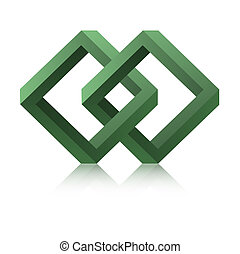 The link symbol - The isolated green abstract infinity...