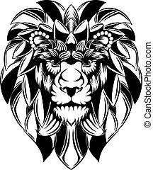 The lion head with the big mane as the flowers for the tattoo illustration