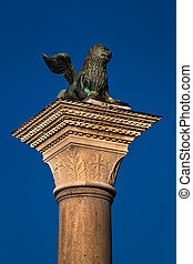 The Lion of Venice, Ancient Bronze Winged Lion Sculpture in the Piazza San Marco in Venice, Italy