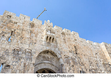 The Lion's Gate in Old City of Jerusalem, Israel