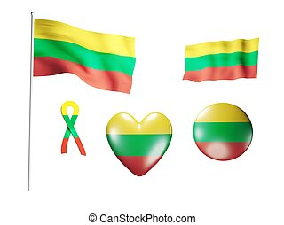 The Lithuania flag - set of icons and flags