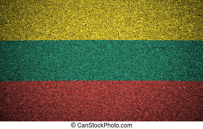 The Lithuanian flag painted on a cork board.