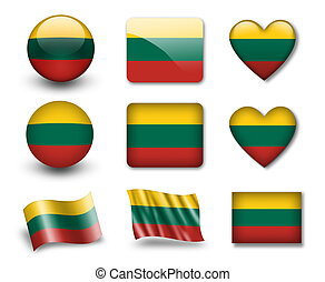 The Lithuanian flag - set of icons and flags. glossy and matte on a white background.