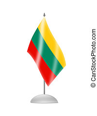The Lithuanian flag. Table Flag. Isolated on white.