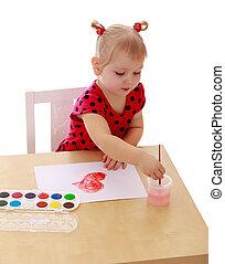 The little blonde girl in a red summer dress polka dot