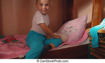 the little boy goes to bed - a little boy goes to bed in the...