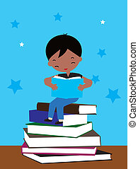 boy sitting on books of reading