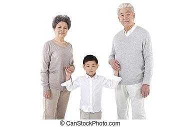 The little boy took my grandparents hands