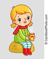 The little cute girl sits on a stone and drinks tea on a gray background.