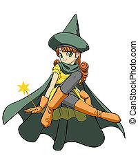 The little fairy - Cute anime girl Vector illustration
