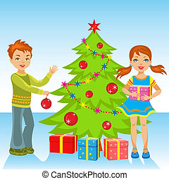 The  little girl and boy decorate the Christmas tree