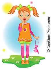 The little girl burst balloon