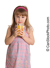 The little girl drinks orange juice