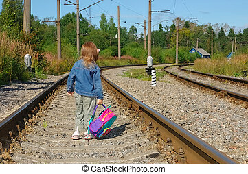 The little girl going with a backpack on railway rails