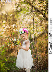 the little girl in a hat from flowers in the wood