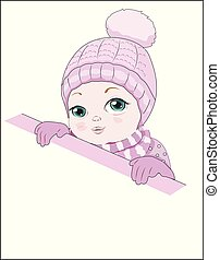 girl in a pink hat with pompon