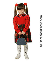 The little girl in a red dress