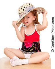 girl in a straw hat.