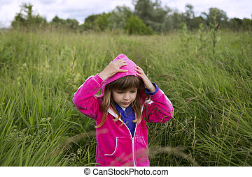 The little girl in rose jacket