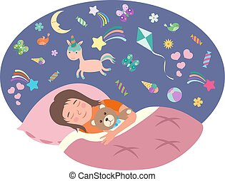 The little girl is sleeping. Children s dreams concept. Vector illustration in flat style