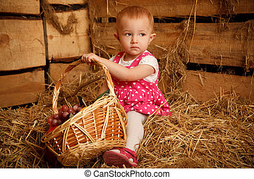 The little girl on straw with a basket of fruit against the wall of boards. Horizontal format.