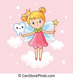The little girl princess with a magic wand.